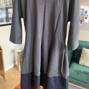 GAP Charcoal and Navy 3/4 Sleeve Dress